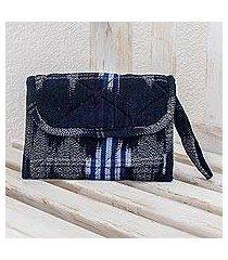 cotton wristlet bag, 'midnight maya' (guatemala)