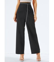 pantalones de cintura alta con diseño de bolsillos negros yoins