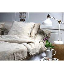 lniana poszewka na poduszkę z troczkami beige