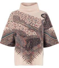 etro cashmere-wool poncho sweater
