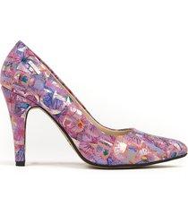 skórzane szpilki zapato 035 fioletowe kwiaty