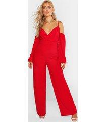 plus off shoulder wide leg jumpsuit, red