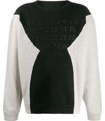 deconstructed paneled logo sweatshirt
