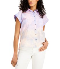 style & co petite ombre-cloud button-down top, created for macy's