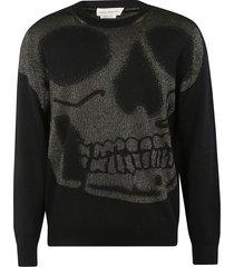 alexander mcqueen skull bead embellished sweater