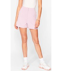 womens office hours high-waisted tailored shorts - pink