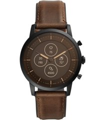 fossil tech collider brown leather strap hybrid smart watch 42mm