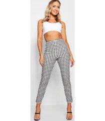 gingham skinny fit broek met hoge taille