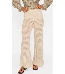 mango women's openwork cotton pants