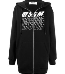 msgm logo print long zipped hoodie - black