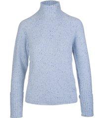 fedeli woman high neck pullover in azure melange cashmere