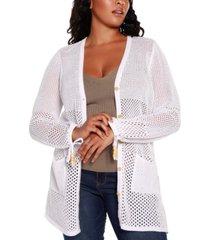 belldini black label plus size long blouson sleeve button up cardigan