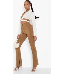 geweven stretch broek met split, tan