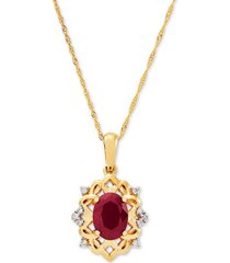 """certified ruby (1-5/8 ct. t.w.) & diamond (1/20 ct. t.w.) 18"""" pendant necklace in 14k gold"""