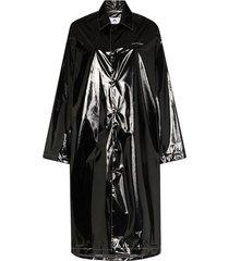 black long patent rain jacket