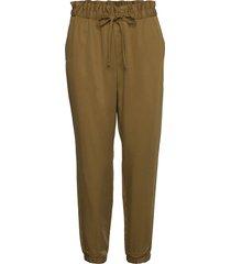 tencel™ paperbag jogger pantalon met rechte pijpen bruin banana republic