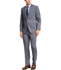 nautica men's modern-fit bi-stretch navy blue stripe big and tall suit