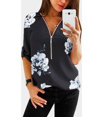yoins cremallera estampada floral aleatoria negra diseño manga ajustable con cuello en v longitud blusa