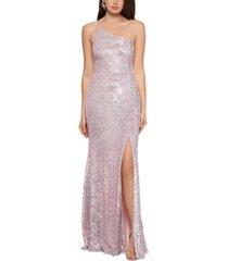 xscape one-shoulder sequin gown