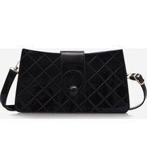 grid stitching pu leather shoulder bag