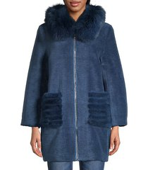 shearling, fox & mink fur coat