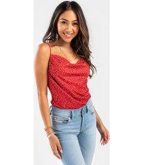 julie dot cowl neck bodysuit - red