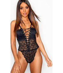 eyelet lace up fan lace body, black