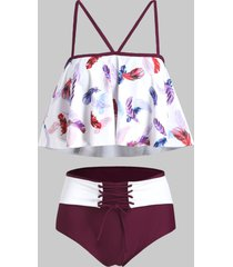 feather print lace-up tankini swimsuit
