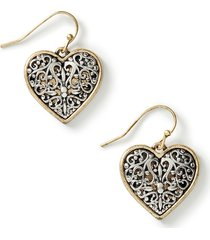 filigree heart drop earrings