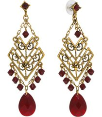 t.r.u. by 1928 double chevron chandelier earring with glass briolette and swarovski crystals