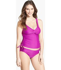 women's maternal america ruched maternity tankini swimsuit, size x-small - purple