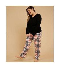 pijama plus size feminino estampa xadrez manga longa