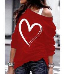 burdeos corazón camiseta de manga larga con hombros descubiertos y estampado