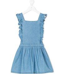 emile et ida chambray frill trim dress - blue
