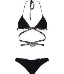 off-white multi-strap logo-plaque bikini set - black