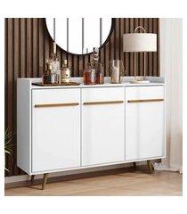 aparador buffet móveis bechara quartzo 3 portas 1 prateleira branco