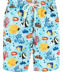 mc2 saint barth coral print swim shorts - blue