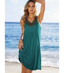vestido de la playa v-cuello diamante de imitación plegar un talla -verde