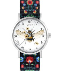 zegarek - bee natural - folk czarny, nylonowy