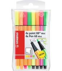 stabilo point 88 mini and pen 68 pen wallet set, 8 pieces