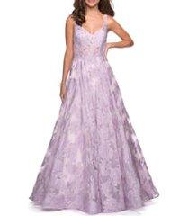 women's la femme lace a-line evening dress, size 14 - purple