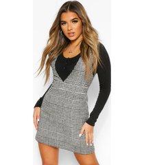 petite tweed pinafore jurk met v-hals, black