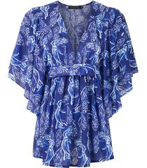 andrea marques printed tie waist blouse - blue