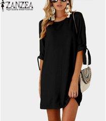 zanzea chiffon vintage mini vestido plegable de manga larga con cordones o cuello recto simple kaftan mujeres otoño casual vestido de moda -negro
