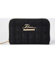 river island womens black sequin quilted ri zip around mini purse