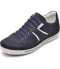 sapatênis casual linha conforto cano curto couro ranster azul