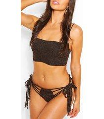 glitter bikini met bandeau en kant, zwart