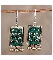 ceramic dangle earrings, 'verdant waves' (india)