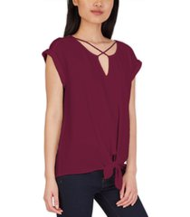 bcx juniors' criss-cross tie-hem top