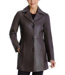 anne klein button-up leather coat